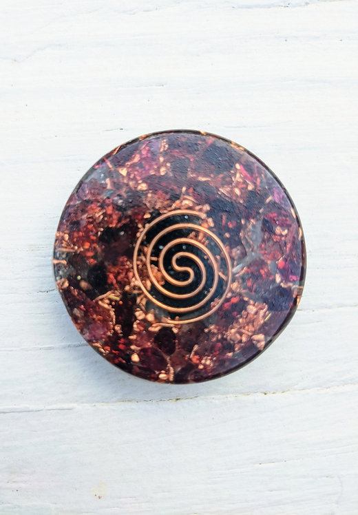 NEW PRODUCT! Mini Orgonite Red Garnet Charging Plate/Cell Phone Sticker