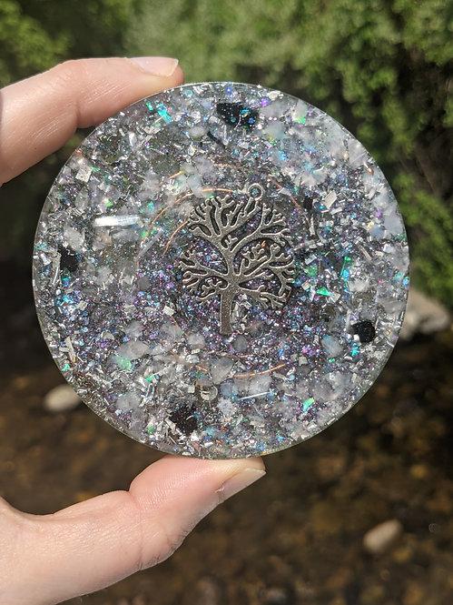 NEW! Handmade Silver Peace Tree of Life Healing Orgonite Charging Plate!