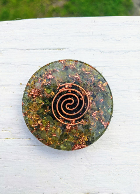 NEW PRODUCT! Mini Orgonite Green Peridot Charging Plate/Cell Phone Sticker
