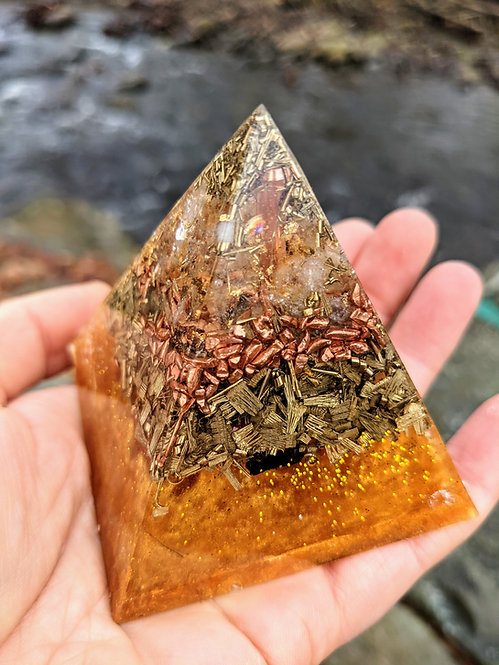 """Soul's Gold Orgonite Protection Pointy Crystal Pyramid (2.5"""" tall)"""