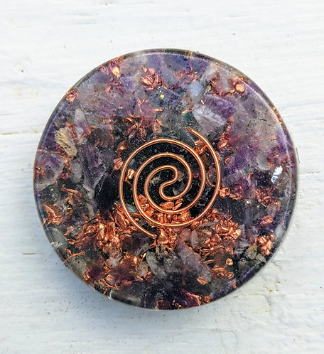 NEW PRODUCT! Mini Orgonite Purple Amethyst Charging Plate/Cell Phone Sticker!