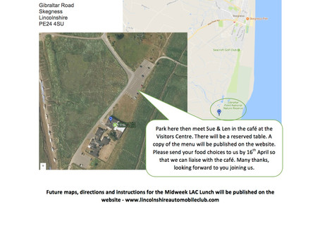 Midweek LAC lunch meeting April 25th – Gibraltar Point Café 12 noon