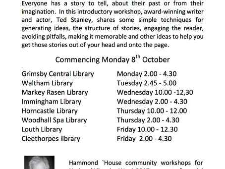 CREATIVE WRITING TASTERS FOR NATIONAL LIBRARIES WEEK