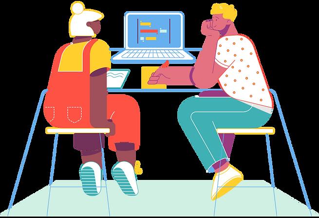 Dos alumnos trabajan con Genius Plan EDU desde un ordenador