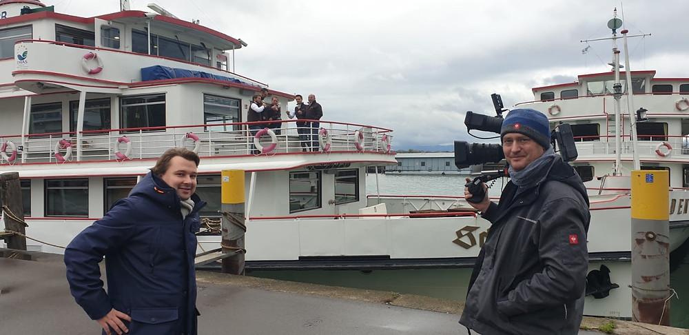 PIXELFLOW Videoproduktion bei der MS Scwaben in Friedrichshafen, Rhedakteur Philipp Klees, Kameramann André Schmitt