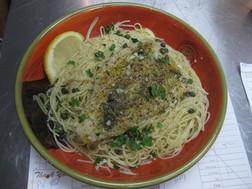 Mahi Piccata over Spaghetti. Yes, please!