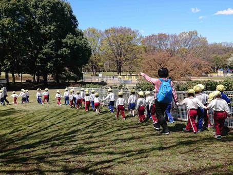 月組(年中組)が、園庭の総合遊具で遊びました。 公園に行ってきました。「テントウムシの旅立ちGo!!」