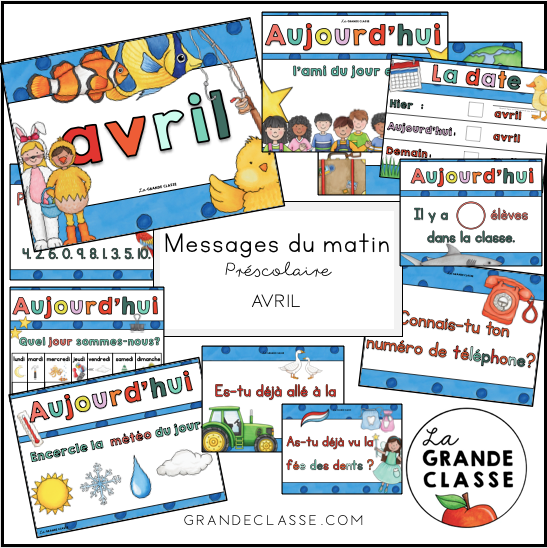 Avril: routine, messages du matin et causerie