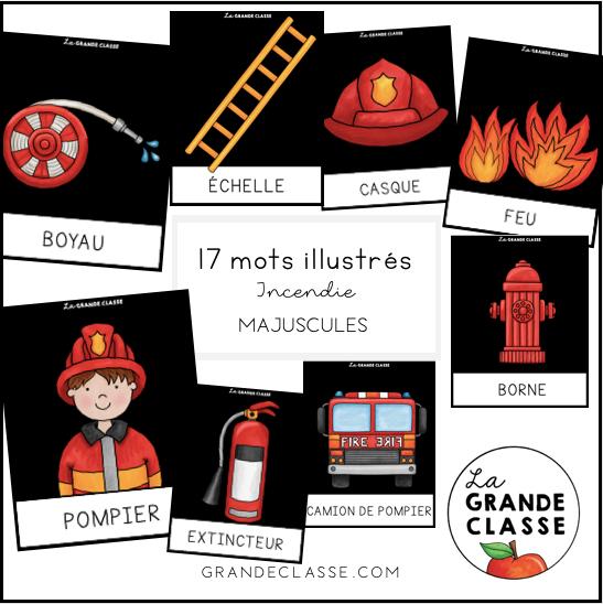 Mots illustrés incendie Majuscules