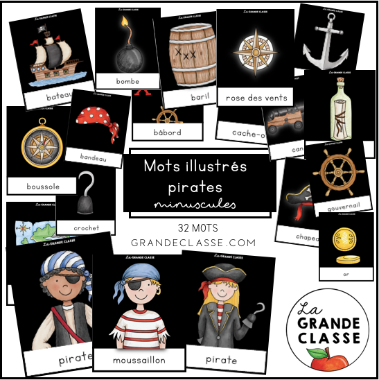 Mots illustrés Pirates minuscules
