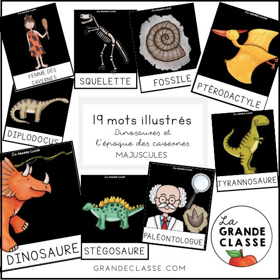 Mots illustrés dinosaures (Majuscules)