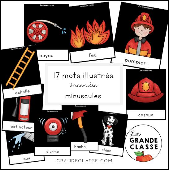 Mots illustrés incendie minuscules