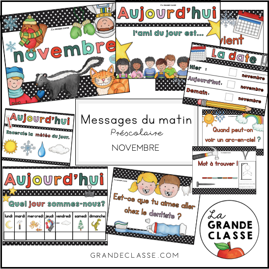 Novembre: routine, messages du matin et causerie