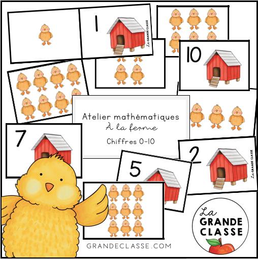 Atelier mathématiques poussins à la ferme