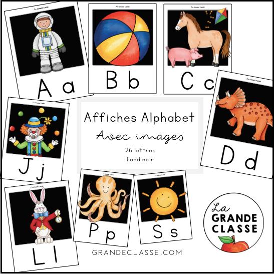 Alphabet avec images (fond noir)