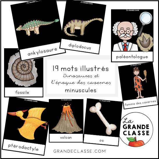 Mots illustrés dinosaures (Minuscules)