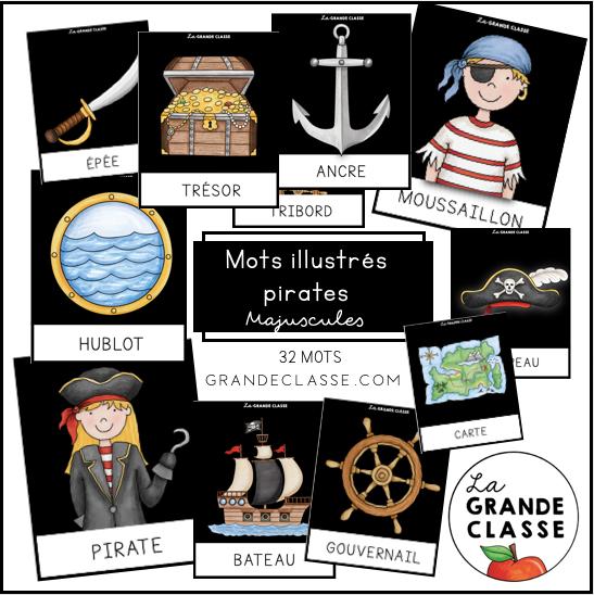 Mots illustrés Pirates majuscules