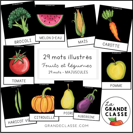 Mots illustrés fruits et légumes MEJUSCULES