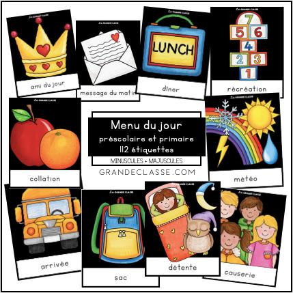 Menu du jour préscolaire et primaire PDF