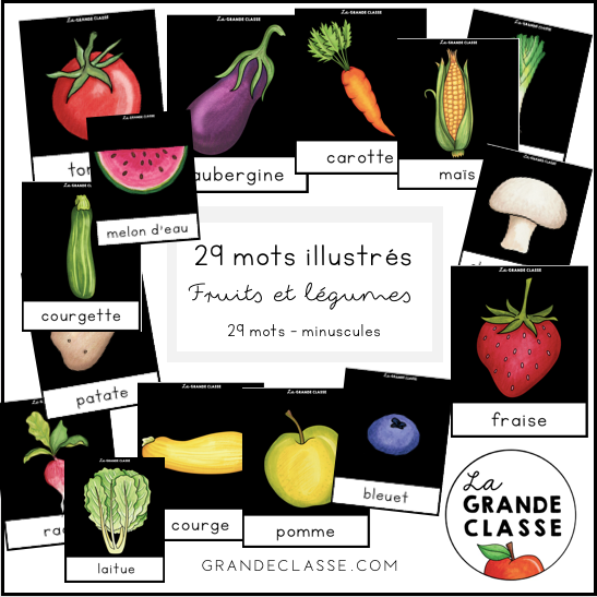 Mots illustrés fruits et légumes minuscules