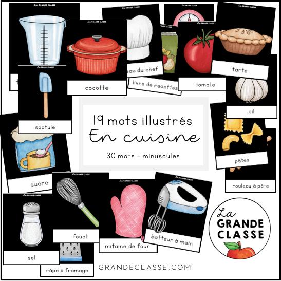 Mots illustrés en cuisine minuscules