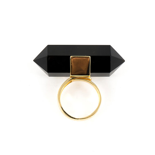 Midnight black agate gold ring