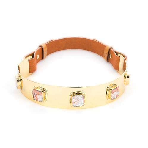 La Pedra Mexican agate stone belt in Camel Brown leather