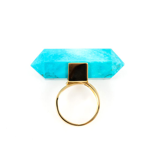 Water Drop gold turquoise ring