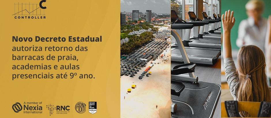 Novo decreto Estadual autoriza barracas de praia, academias e aulas presenciais até 9 ano