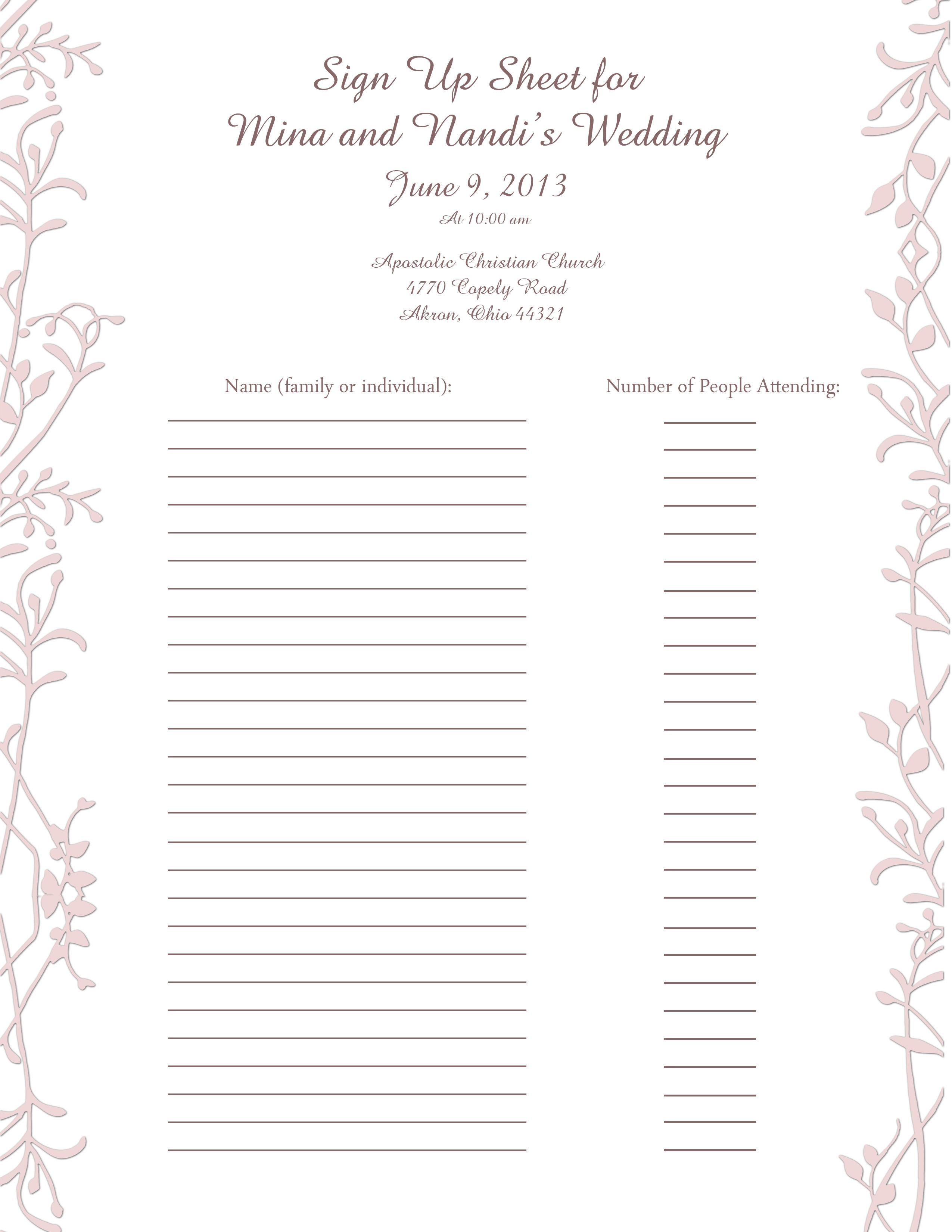 Wedding Sign Up Sheet
