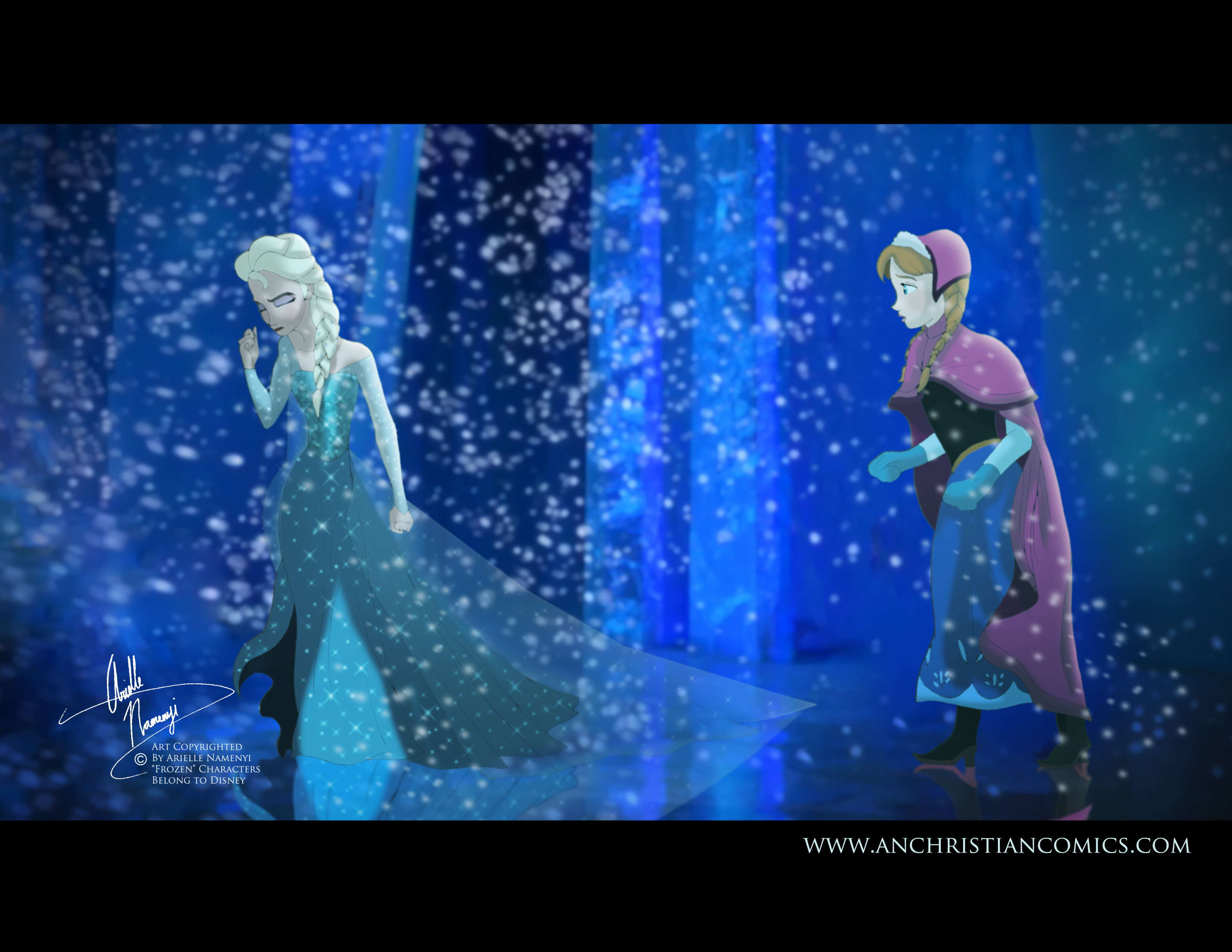 Elsa and Anna 2D