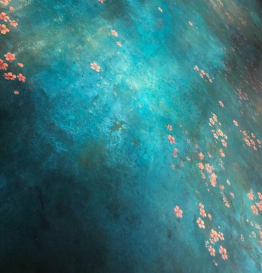 Teal Blue Floral