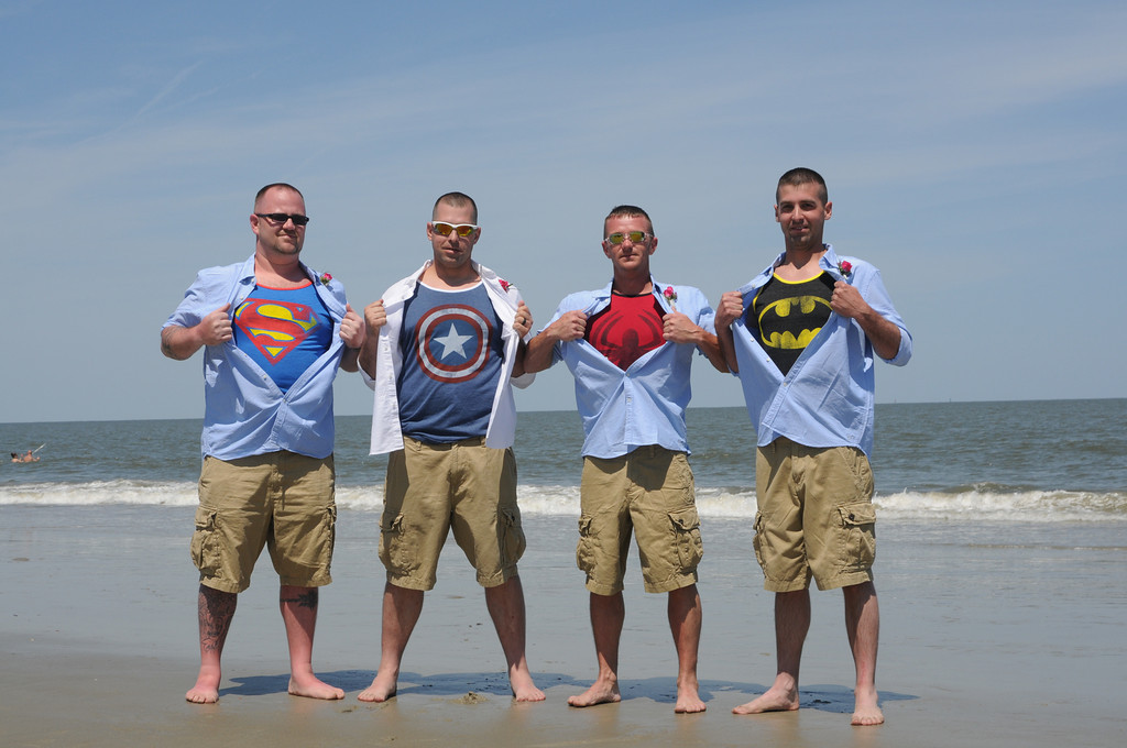 Our grooms/groomsmen are superheroes