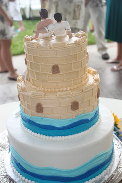 Bride made the sand castle topper!