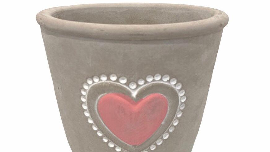 Pink Love heart pot