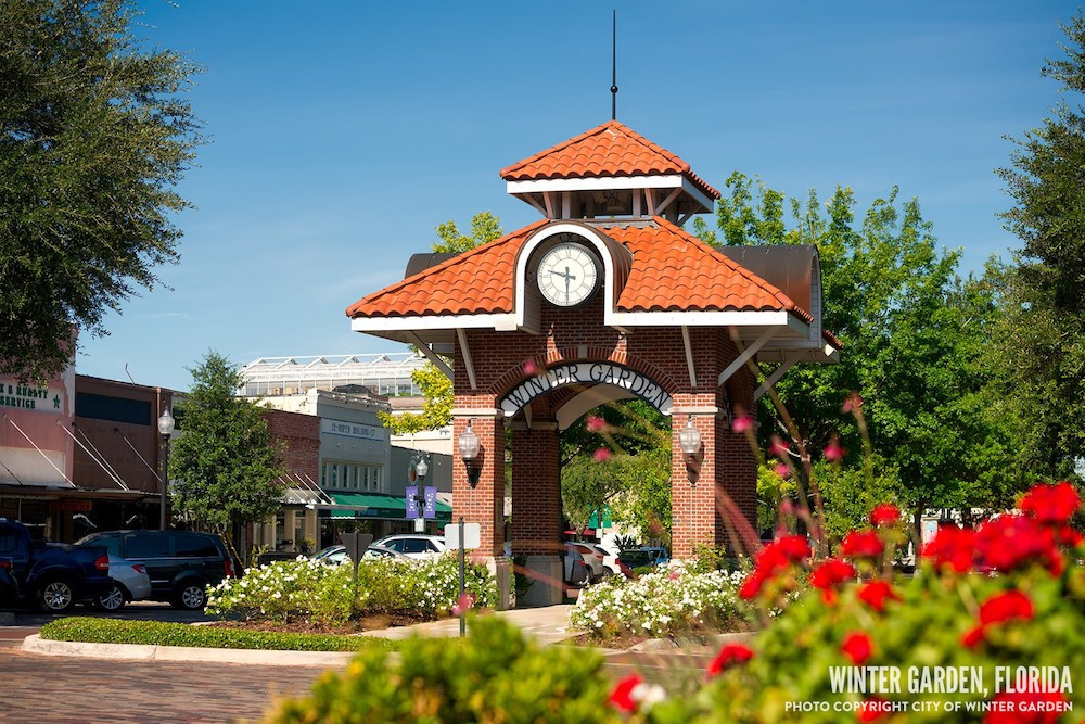 Clock located in Downtown Winter Garden, Florida