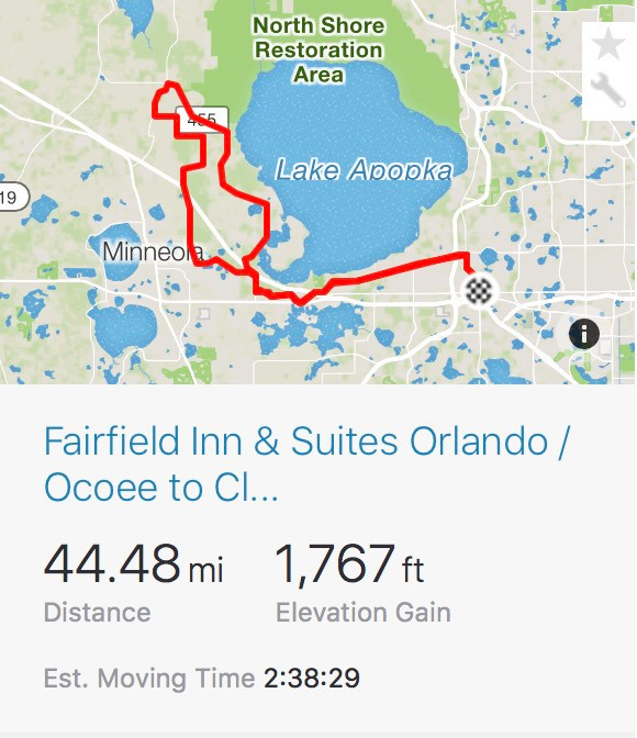 Bike route from Ocoee to Clermont