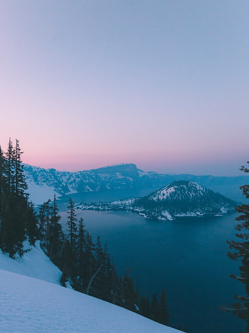 Crater Lake under snow