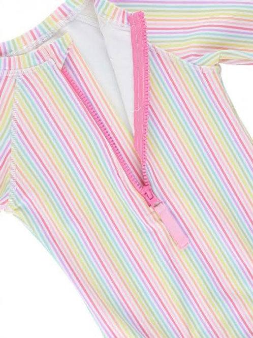 Rainbow Stripe One Piece Rash Guard