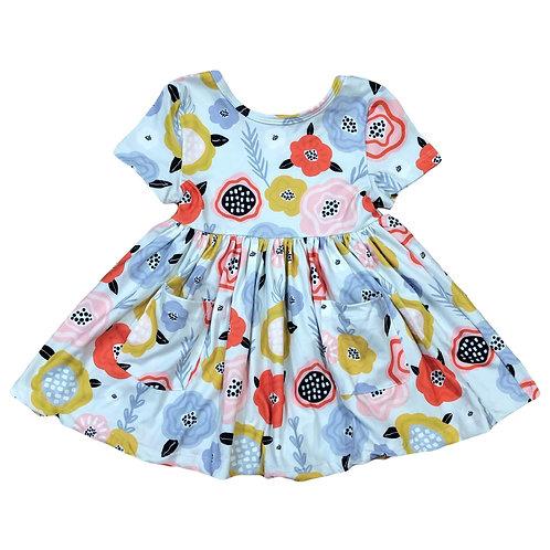 Sky Blue Retro Short Sleeve Dress