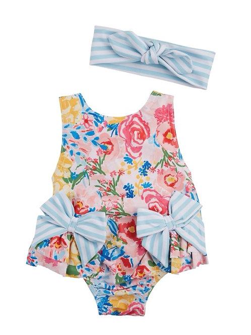 Stripe Bow Floral Swimsuit