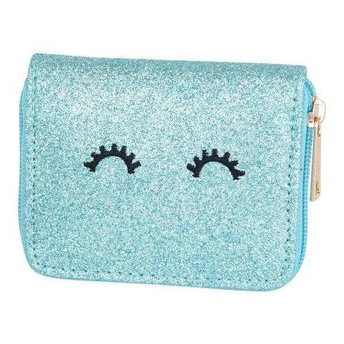 Aqua Glitter Wink Wallet