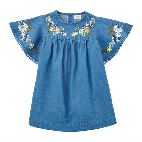 Embroided Chambray Dress