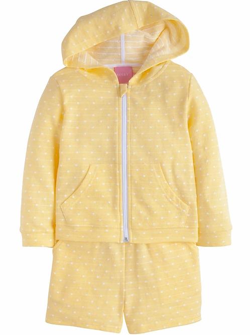 Yellow Polka Dot Hoodie Short Set