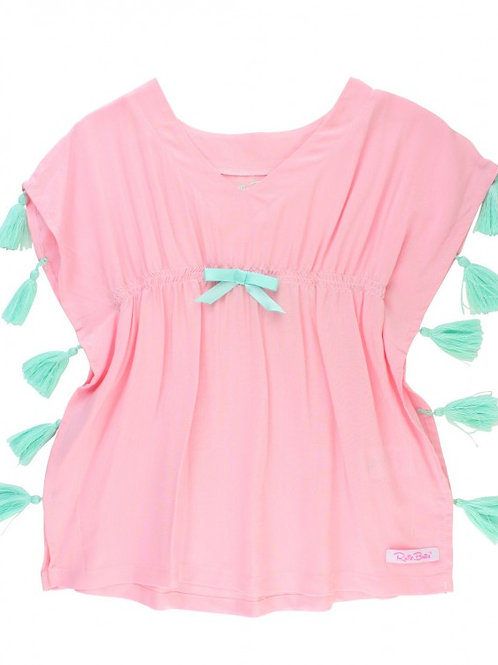 Pink Tassel Kaftan Cover-Up