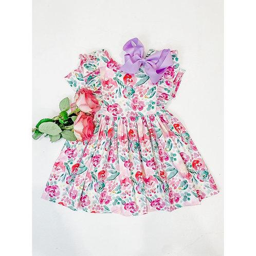 Watercolor Blooms S/S Ruffle Twirl Dress