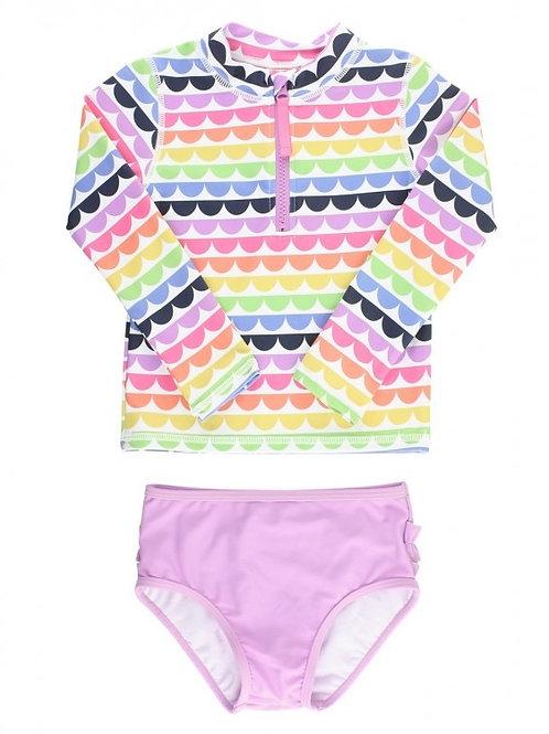 Rainbow Scallop Long Sleeve Zipper Rash Guard Bikini