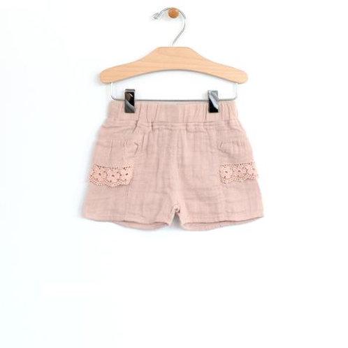 Soft Rose Woven Lace Pocket Shor