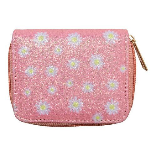 Pink Daisy Glitter Wallet