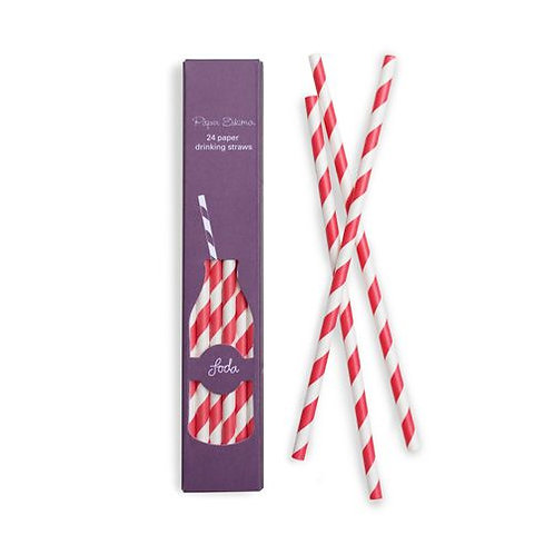 Red Candy Cane Paper Straw
